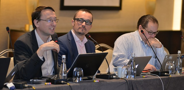 Photo of CCWG-Accountability Triumvirate: (L-R) Mathieu Weill, Thomas Rickert, Leon Sanchez