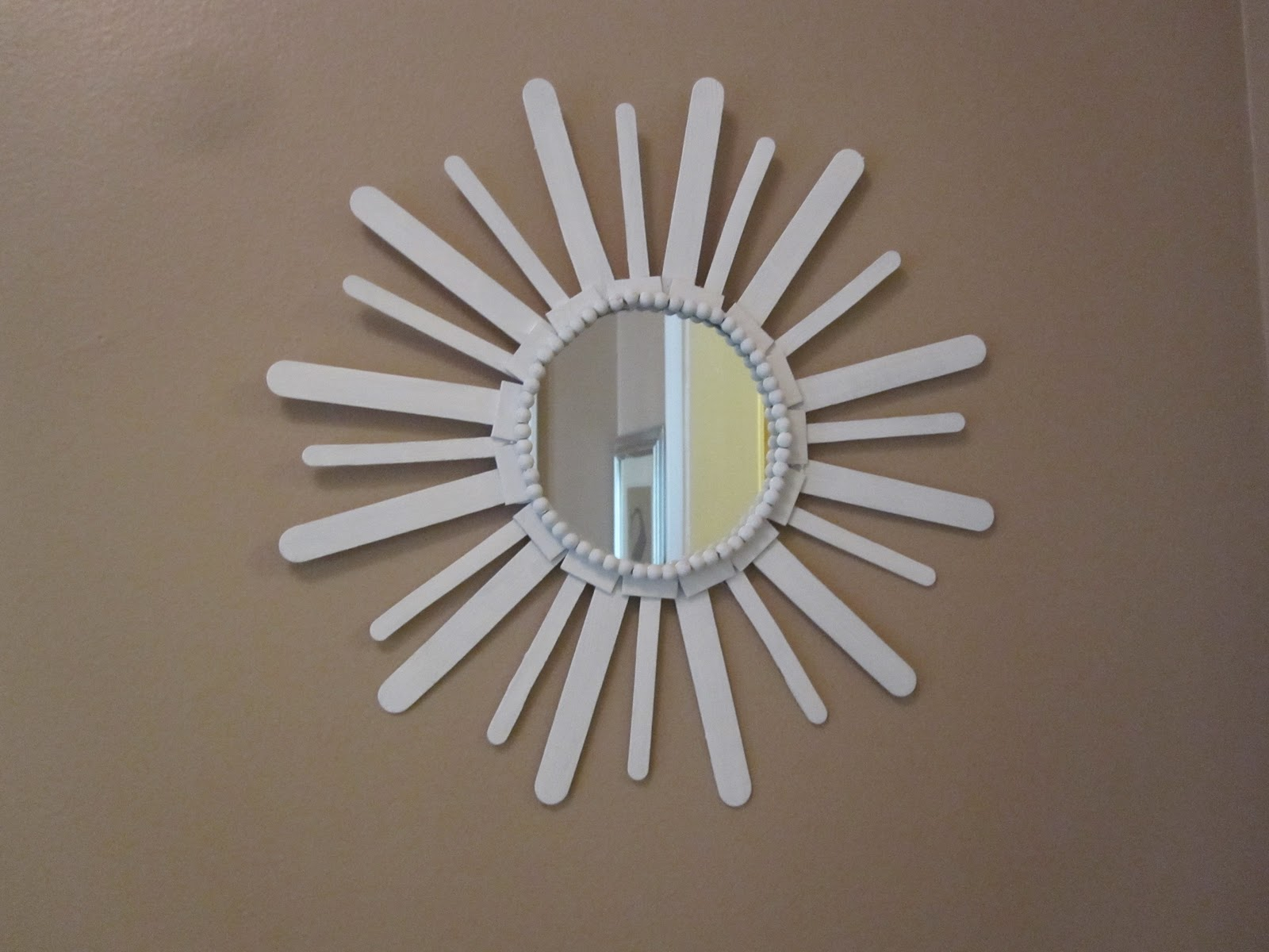 Small round mirrors for crafts - Small And Large Wooden Craft Sticks Basically The Same Thing As Popsicle Sticks And Tongue Depressors A Round Mirror Purchased From Michaels Hot Glue