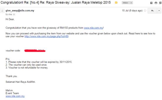 Menang Raya Giveaway RM150 Nile.com.my