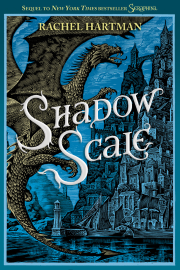 Cover art for Shadow Scale, featuring a woodcut of a bronze dragon in flight before a blue city.