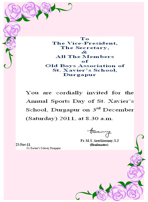 St xaviers durgapur alumni invitation to the school sports the headmaster of stxaviers school durgapur has cordially invited all ex students of the school and all alumni members to attend the school sports on 3rd stopboris Image collections