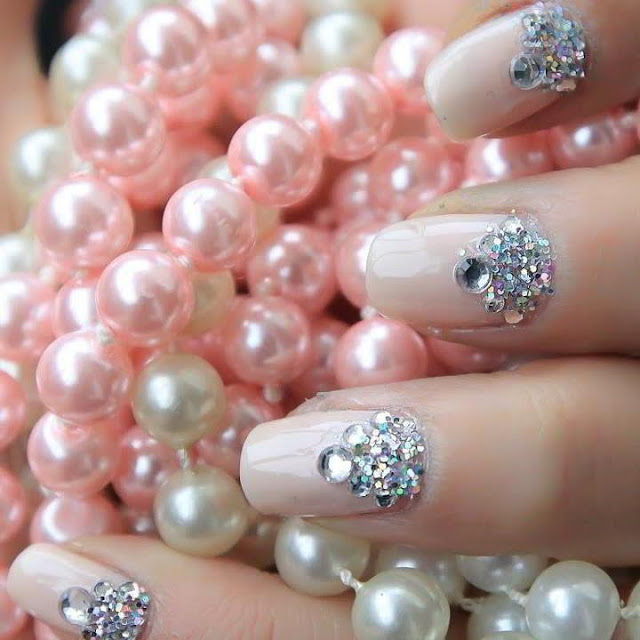 Pink Nails with Diamonds.