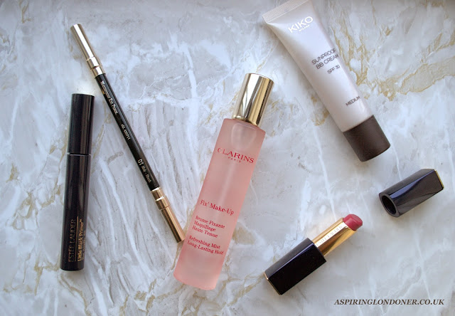 Spring Makeup Essentials ft Clarins Fix Makeup Mist Estee Lauder Lipstick Kiko BB Cream - Aspiring Londoner