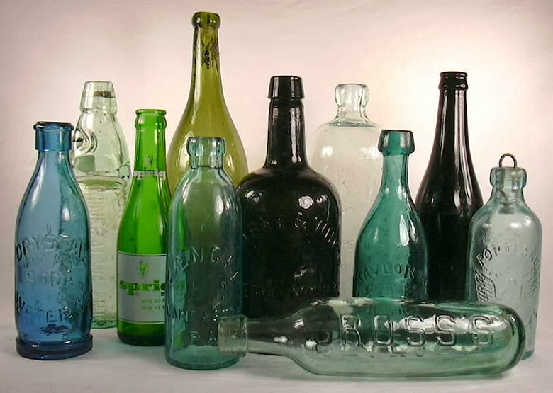 Old Glass Bottles Part - 17: The Original Black Glass Bottles Tended To Be Globe- Or Onion-shaped, But  By The Early 18th Century The Design Was A More Stable Mallet Shape And By