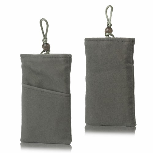 Universal Plush Pouch Bag with Button Closure for Samsung Galaxy S 3 III i9300 S 4 IV i9500 i9505, Size 13.8cm x 8.1cm - Grey