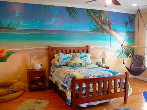 tropical beach style bedroom decorating ideas beach bedrooms surfer theme rooms tropical theme - Beach Themed Bedrooms