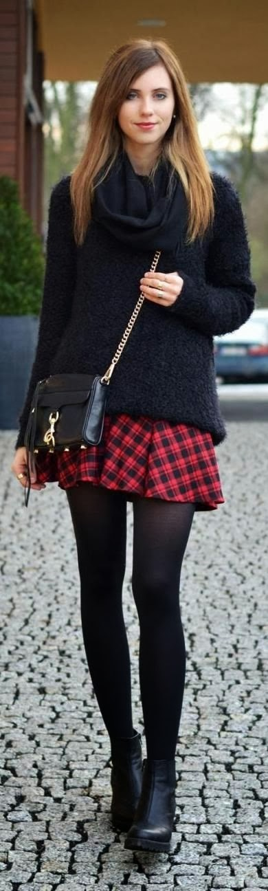 Black Long Sleeve Sweater With Plaid Skirt, Black Leging And Black Boot