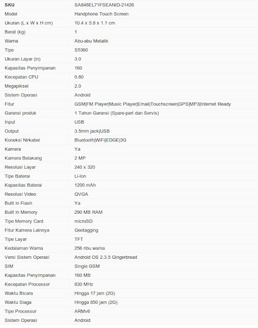 Spesifikasi Samsung Galaxy Y