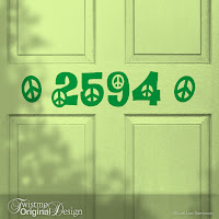 Peace Design Custom House Number Vinyl Door Decal