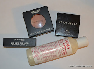 mac shy shine, mac garb, bobbi brown desert rose kiehl's foaming cleanser