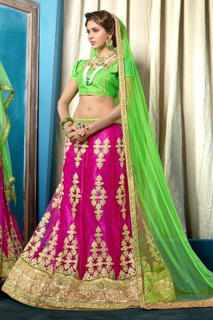 Pink & Gold Net Embroidered Designer Bridal Lehenga