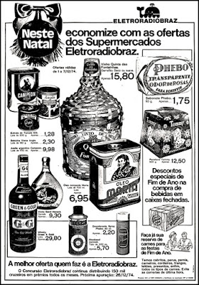 Eletroradiobraz; 1974; anos 70.  1974. década de 70. os anos 70; propaganda na década de 70; Brazil in the 70s, história anos 70; Oswaldo Hernandez;