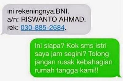 SMS Penipuan Merusak keluarga orang