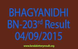 BHAGYANIDHI BN 203 Lottery Result 4-9-2015