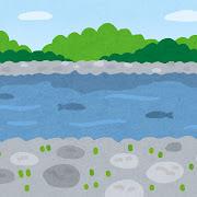 川原のイラスト(背景素材)