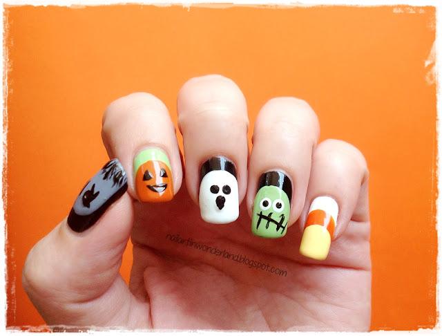 Ruffian Halloween Nail Art - RIP / Jack O-Lantern / Ghost / Frankenstein / Candy Corn
