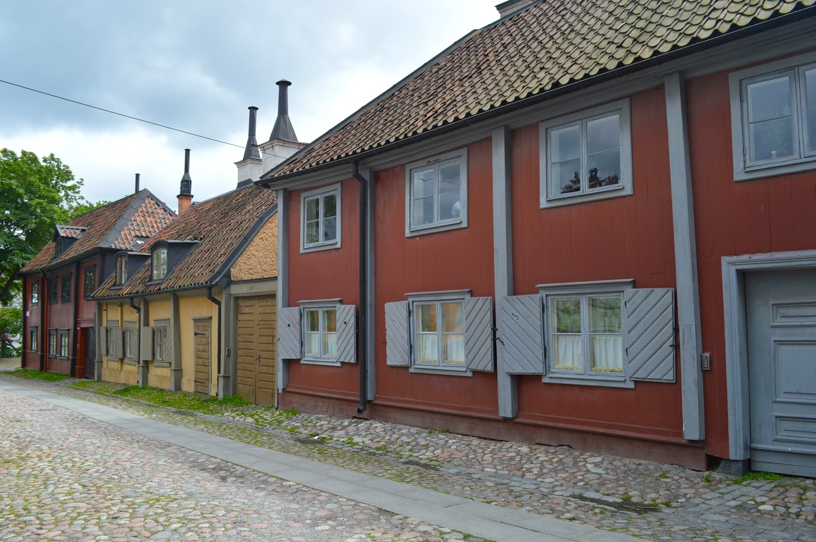Picturesque Swedish colourful houses in Sodermalm, Stockholm