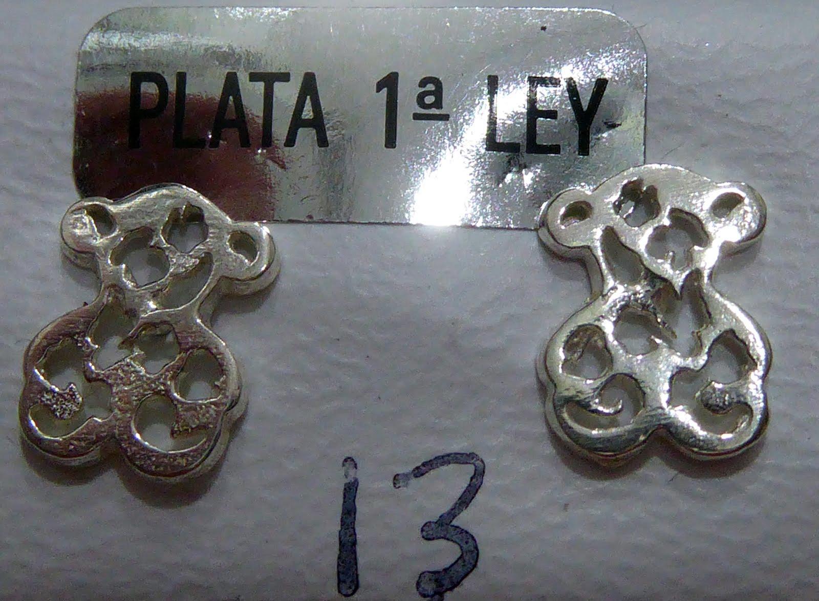Pendientes de plata con forma de oso