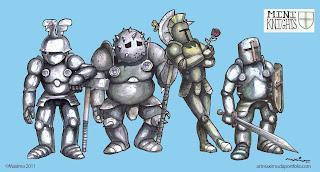pin up personajes mini knights. Caballeros en miniatura proyecto de concept art y diseño de personajes medievales diminutos hecho por maximo 2011 ©