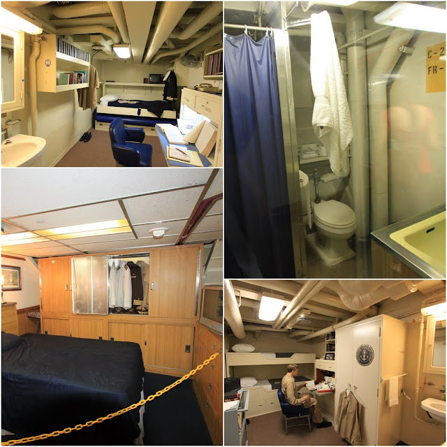 Big bedrooms for higer ranking officers in the USS Midway Museum in San Diego, California, USA