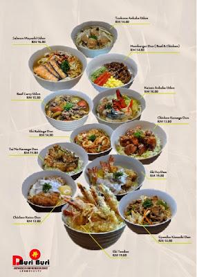 D-buri buri Japanese Restaurant menu