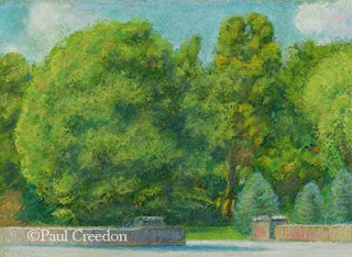Pastel of trees and a stone wall