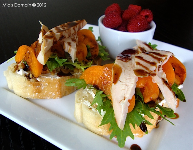 Open-Faced Chicken Apricot Walnut Goat Cheese Sandwiches from Mia's Domain