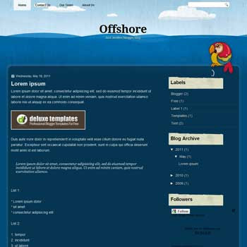 Offshore blogger template. template blue for blog