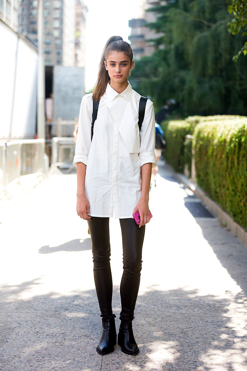 Model Street Style Taylor Marie Hill 39 S Classic White Shirt The Front Row View