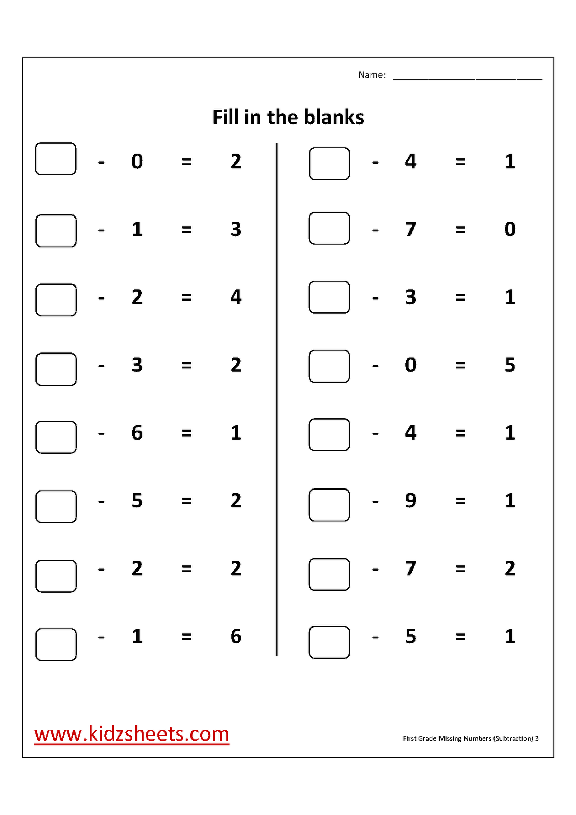 Free Printable First Grade Worksheets, Free Worksheets, Kids Maths Worksheets, Maths Worksheets, First Grade Missing numbers Subtraction Worksheets, Missing numbers (Subtraction), First Grade, Kids Missing numbers (Subtraction)