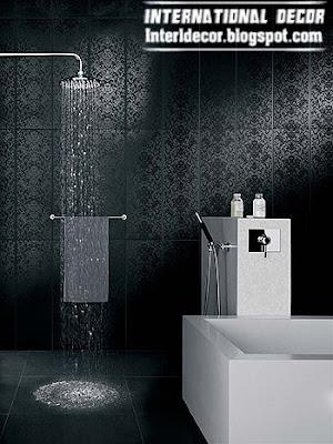 black wall tile for bathroom, bathroom wall tiles