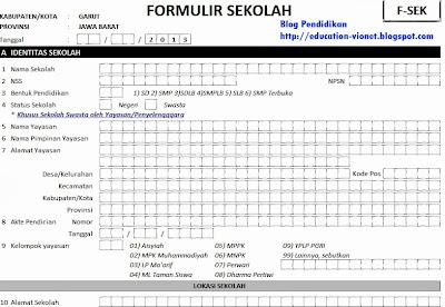 Formulir Pendataan Sekolah, Peserta Didik dan PTK 2013