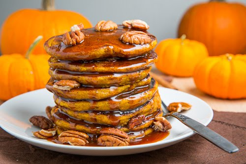 Closet Cooking: Pumpkin Pie Pancakes (with Caramel Sauce)