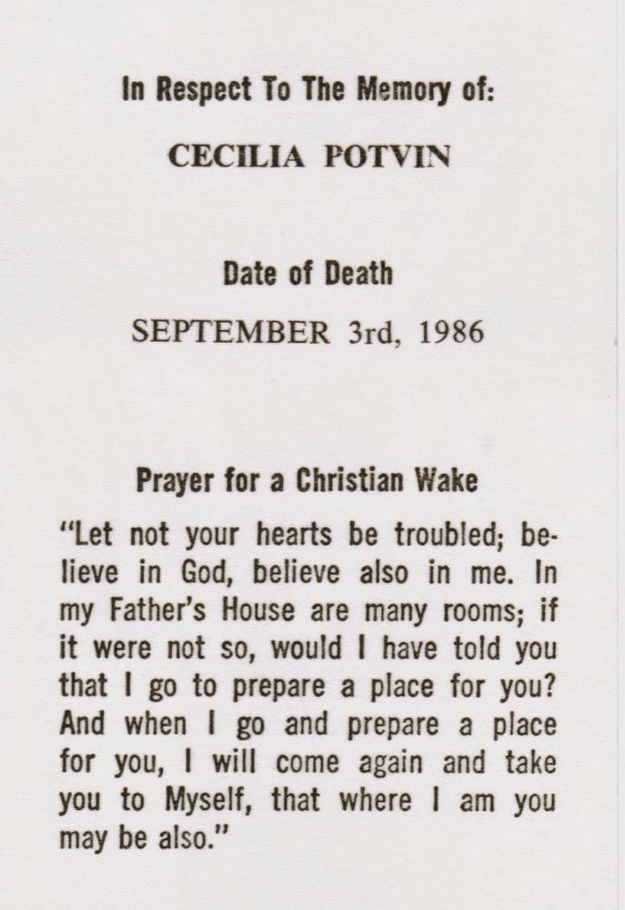 Cecilia Vanasse Potvin memorial card