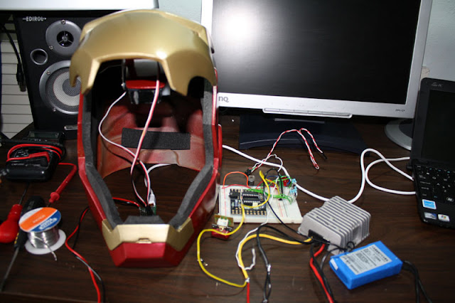 ironman helmet made motorized with picaxe microcontroller