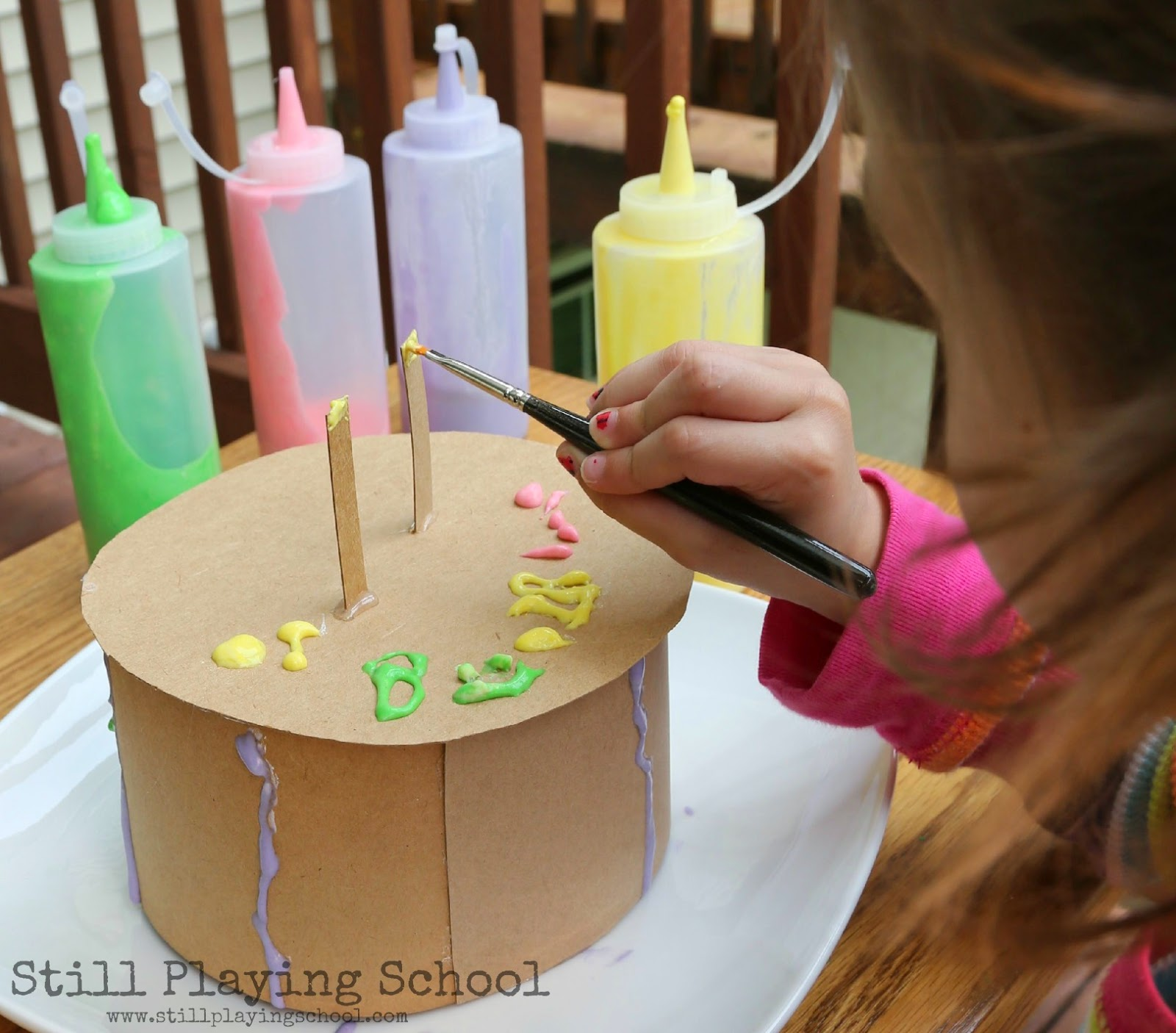 Puffy Paint Cake Decorating Still Playing School