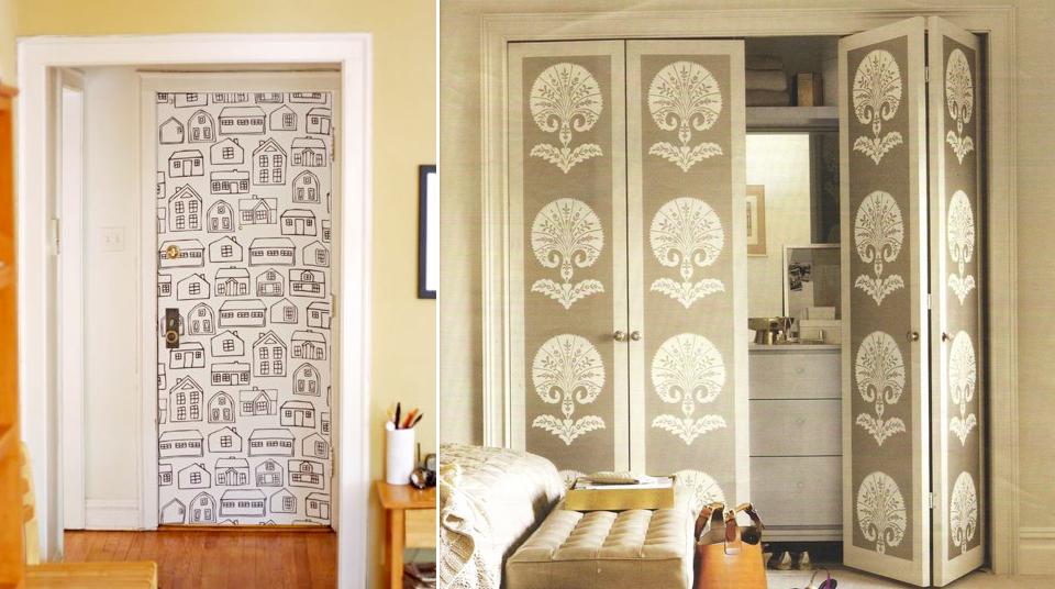 Hogar y decoracion decorar armarios usando papel pintado - Papel pintado para puertas ...