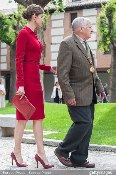 Juan Goytisolo and Queen Letizia of Spain attend Cervantes Award Ceremony at Alcala de Henares University on April 23, 2015 in Alcala de Henares, Spain