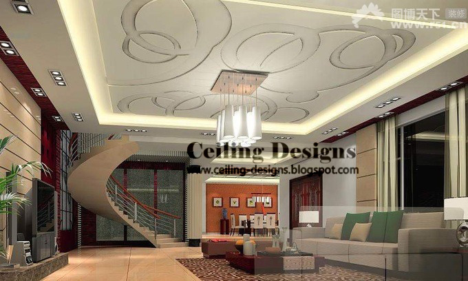 Attirant Simple False Ceiling Designs For Living Room , Accessories And Decorations  In The Center, For Modern House