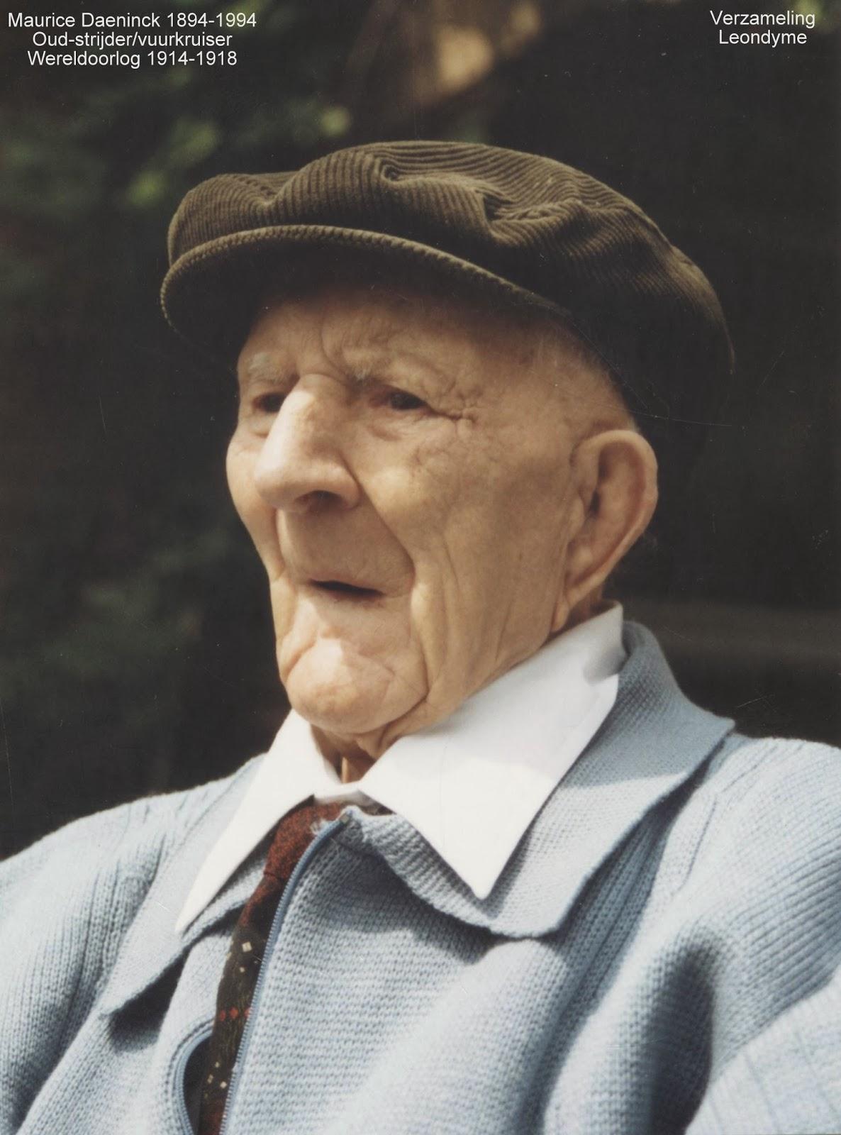 Oud-strijder en vuurkruiser Maurice Daeninck 1894-1994 op honderdjarige leeftijd. Verzameling Leondyme.