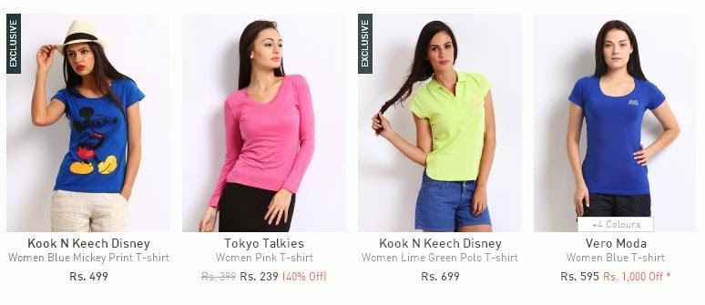 Shoppal.in offer on women tees from Myntra