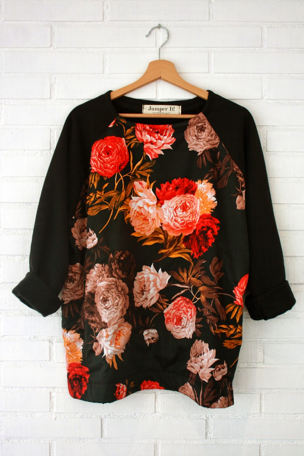 Sudadera con frente de seda estampada en flores - Jumper It