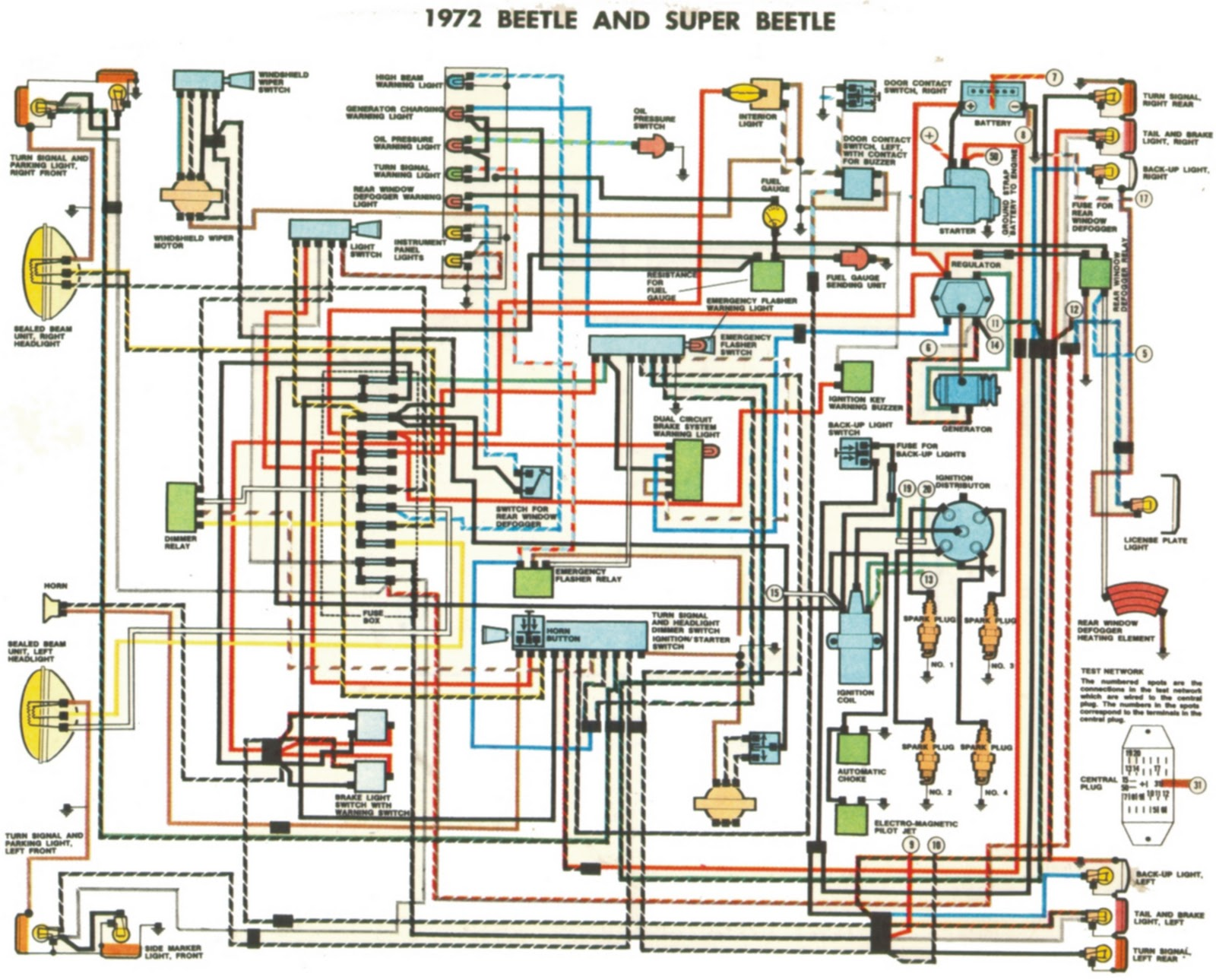 1972 beetle and super beetle wiring diagrams wiring diagram for 1971 vw beetle the wiring diagram 1969 beetle wiring diagram at sewacar.co