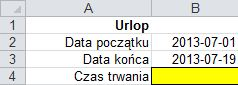 Różnica dat: ile dni trwał mój urlop - formatka
