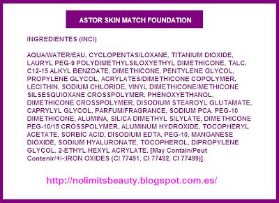 Ingredientes de la base de maquillaje SKIN MATCH de Astor