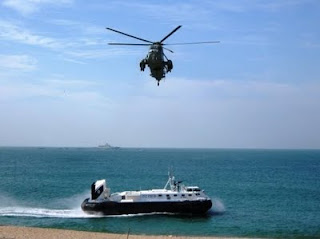 Indian Navy Helicopter and Hovercraft