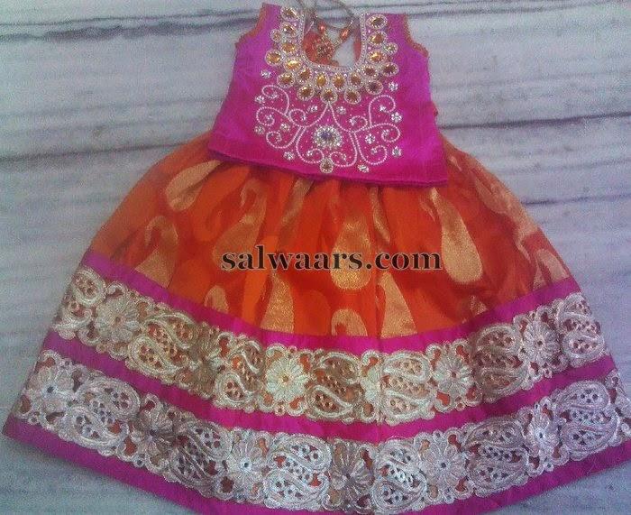 Orange Paisley Design Skirt for 2 Years