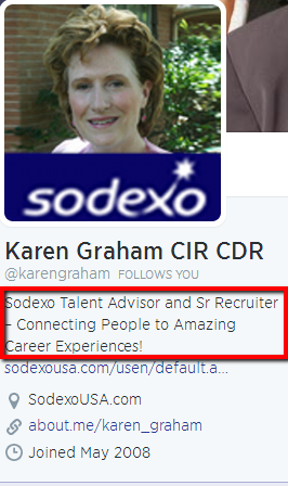 Sodexo Senior Recruiter Karen Graham Shares Her Job Title on Twitter