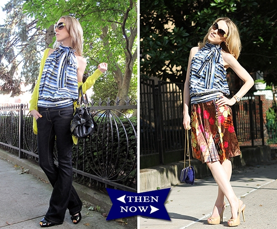 The Wind of Inspiration Outfit of the Day Post - Mixing Prints And Bow Details - Then And Now Collage