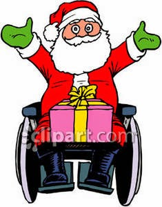 Color illustration of a cheerful Santa Claus, sitting in a wheelchair